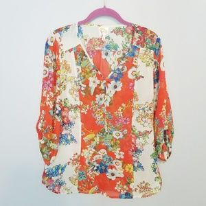 {Anthropologie} Fig & Flower Floral Blouse Size L
